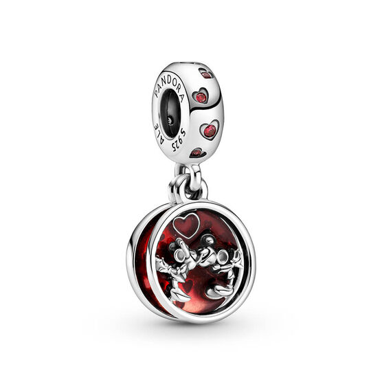 Pandora Disney Mickey Mouse & Minnie Mouse Love and Kisses CZ & Enamel Dangle Charm