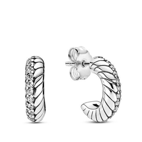 Pandora Pavé CZ Snake Chain Pattern Hoop Earrings
