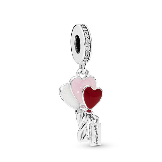 Pandora Heart Balloons Dangle CZ & Enamel Birthday Charm