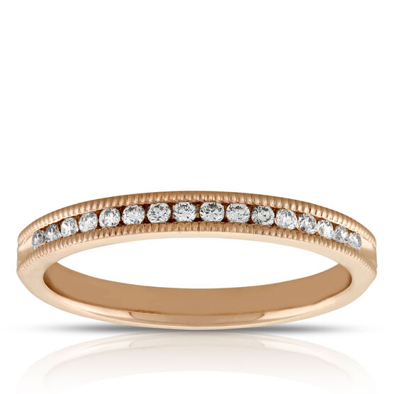 Rose Gold Diamond Band 14K, 1/7 ctw.