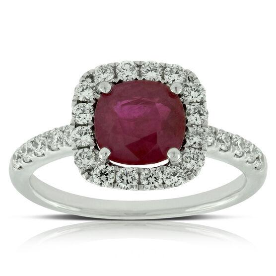 Cushion Cut Ruby & Diamond Ring 14K