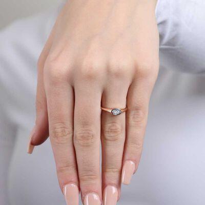 Rose Gold Diamond Cluster Ring 14K
