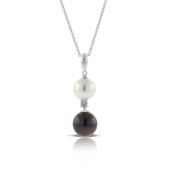 Cultured Freshwater Pearl, South Sea Tahitian Pearl & Diamond Pendant 14K