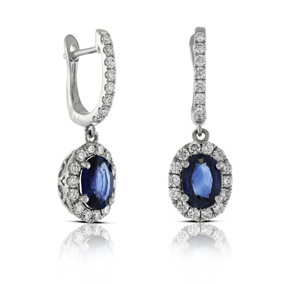 Sapphire & Diamond Dangle Earrings 14K