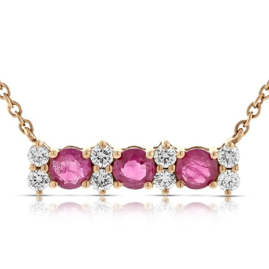 Rose Gold Ruby & Diamond Bar Necklace 14K