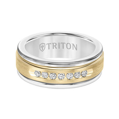 TRITON Stone Custom Contemporary Comfort Fit Channel Set Diamond Band in White Tungsten & 14K, 8 mm
