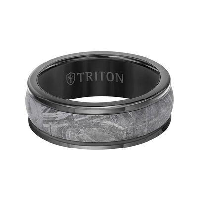 TRITON Custom Comfort Fit Meteorite Band in Black Tungsten, 8 mm