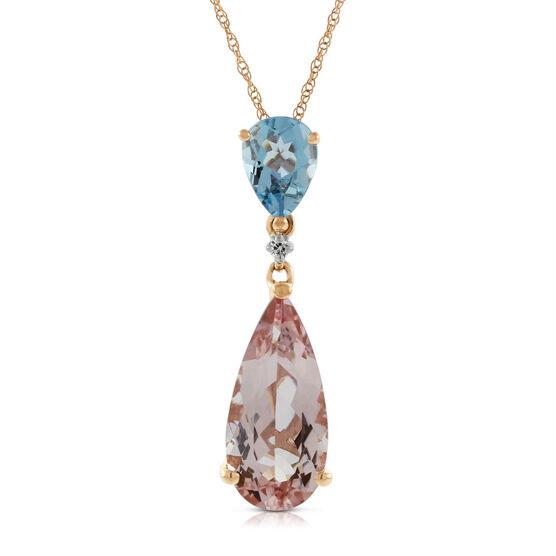 Rose Gold Morganite, Aquamarine & Diamond Pendant 14K
