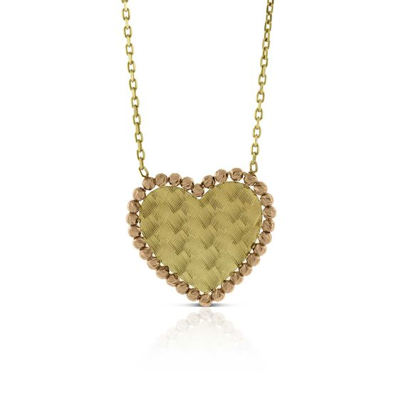Toscano Yellow & Rose Gold Heart Necklace 14K
