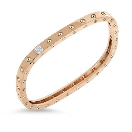 Rose Gold Roberto Coin Pois Moi Diamond Bangle 18K
