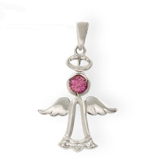 Sapphire & Diamond Angel Charm / Pendant 14K