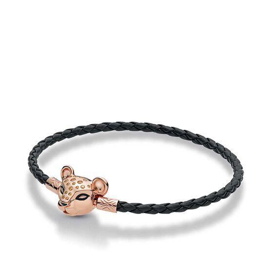 Pandora Rose™ Sparkling Lion Princess Woven Leather Enamel & CZ Bracelet