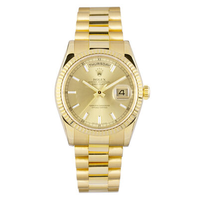 Pre-Owned Rolex Oyster Perpetual Day-Date Watch, 36mm, 18K