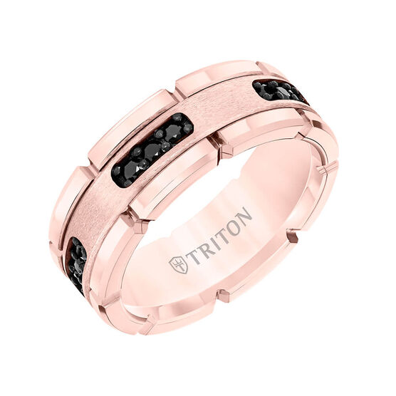 TRITON Stone Contemporary Comfort Fit Satin Finish Black Diamond Link Edge Band in Rose Tungsten, 8 mm
