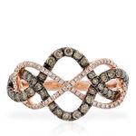 Rose Gold Interwoven Brown & White Diamond Ring 14K