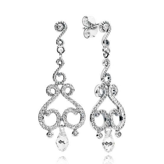 PANDORA Swirling Chandeliers Droplet Crystals & CZ Earrings