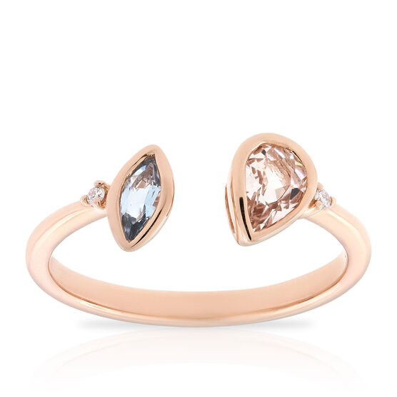 Rose Gold Morganite, Aquamarine & Diamond Open Shank Ring 14K