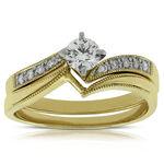 Milgrain Diamond Bridal Set 14K