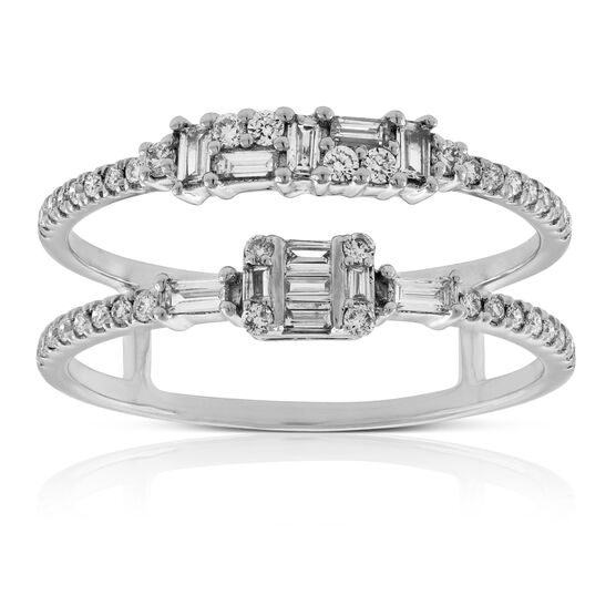 Two-Row Diamond Band Ring 14K