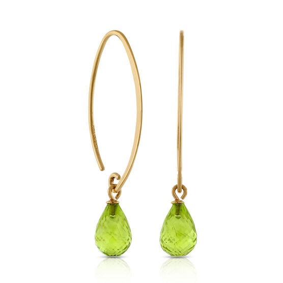 Peridot Drop Earrings 14K