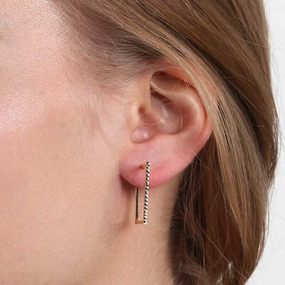 Square Hoop Earrings 14K
