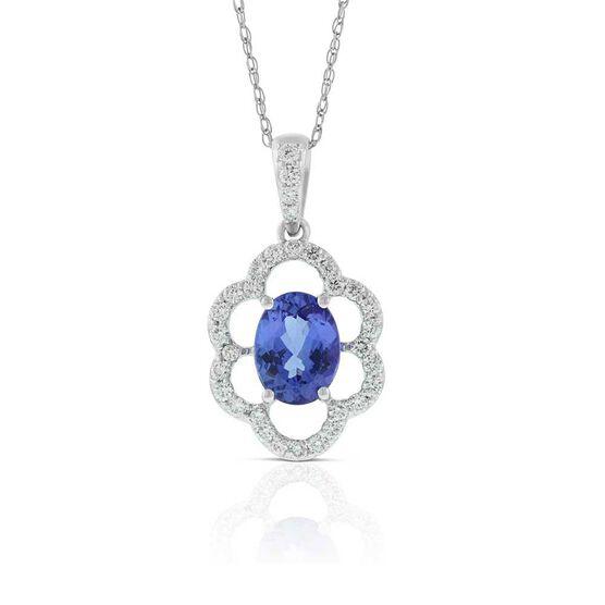 Tanzanite & Diamond Fluted Halo Necklace 14K