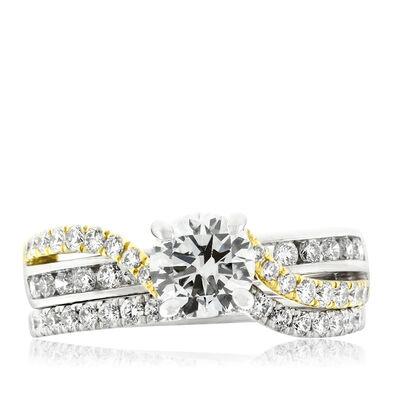 Two-Tone Diamond Wedding  Set 14K