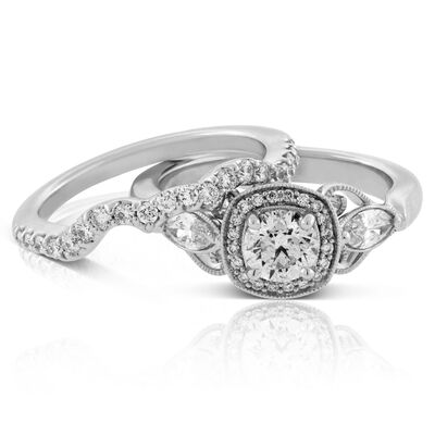 Vintage Styled Diamond Wedding Set 14K