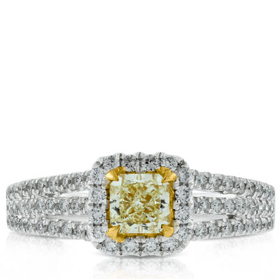 Radiant Cut Yellow Diamond Ring 18K