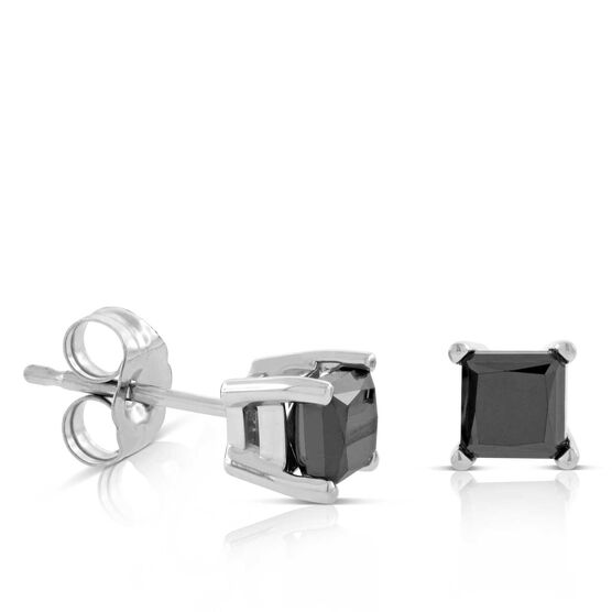 Princess Cut Black Diamond Stud Earrings 14K, 1 ctw.