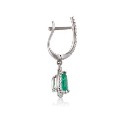 Pear Emerald & Diamond Halo Drop Earrings 14K