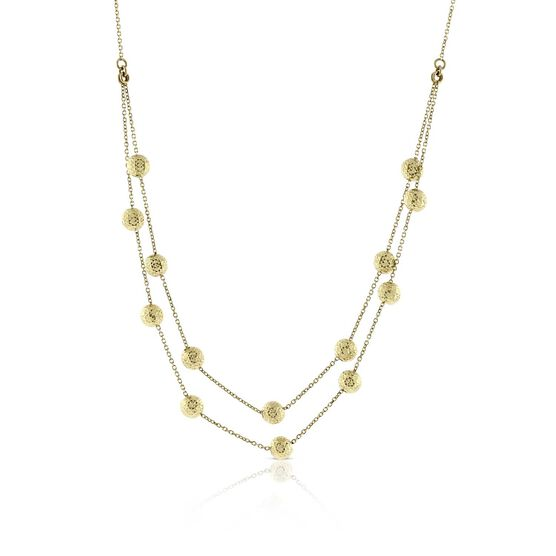 Two Row Diamond Cut Beaded Chain 14K