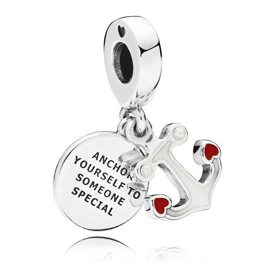 Pandora Anchor of Love Enamel Dangle Crystal Charm