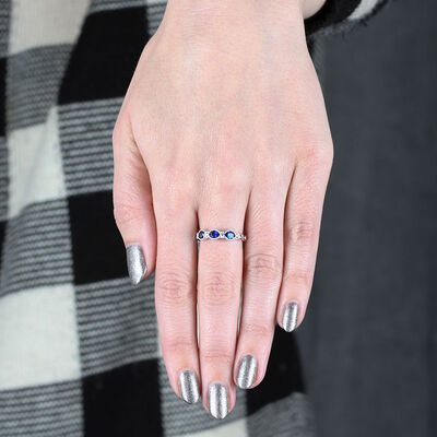 Sapphire & Diamond Ring Band 14K