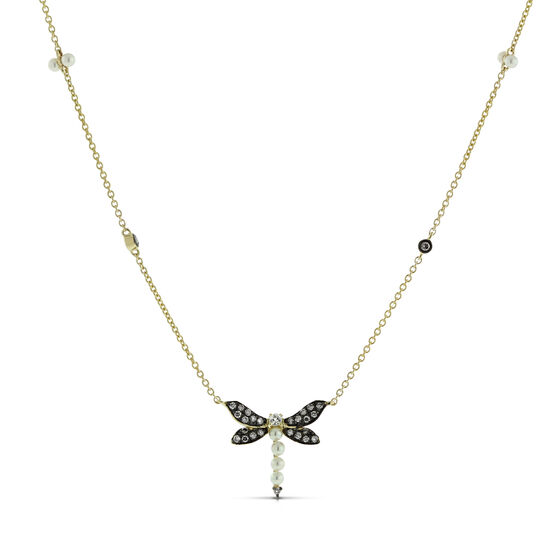 Gemstone Dragonfly Necklace 14K