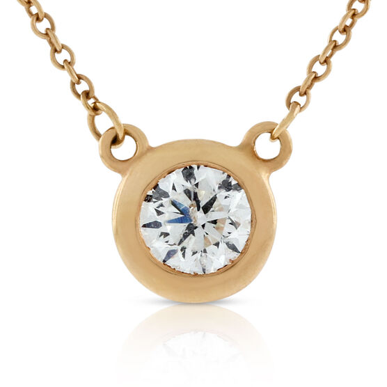 Rose Gold Bezel Set Diamond Solitaire Necklace 14K