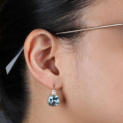 Cushion Blue Topaz & Diamond Earrings 14K