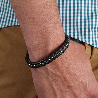 Leather & Steel Woven Men's Bracelet