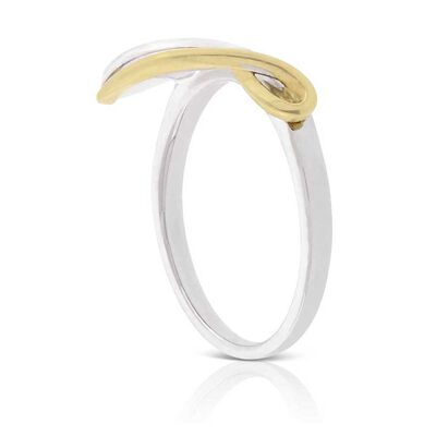 Two-Tone Diamond Leaf Ring 14K