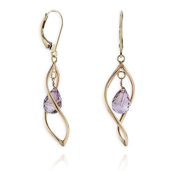 Twisted Dangle Amethyst Earrings 14K