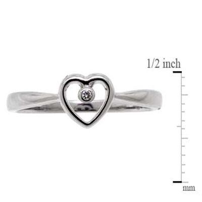 Open Heart Diamond Ring 14K