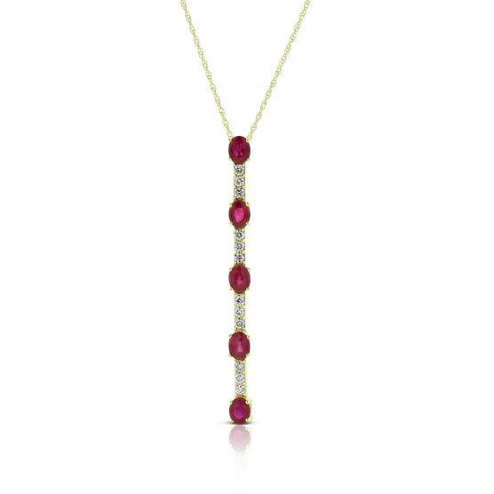 Oval Ruby & Diamond Necklace 14K