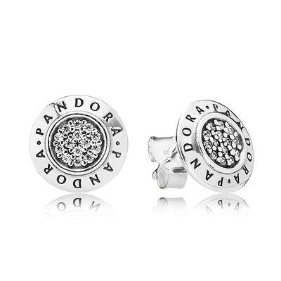 Sparkling Pandora Logo CZ Stud Earrings
