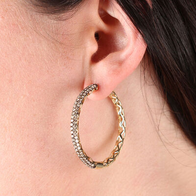 Brown Diamond Hoop Earrings 14K, 3.60 ctw.