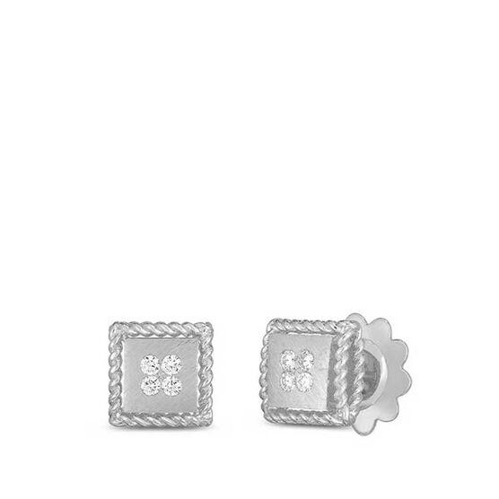 Roberto Coin Palazzo Ducale Satin Square Diamond Stud Earrings 18K