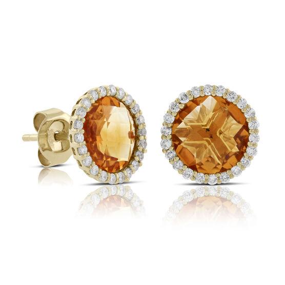 Citrine & Diamond Halo Stud Earrings 14K