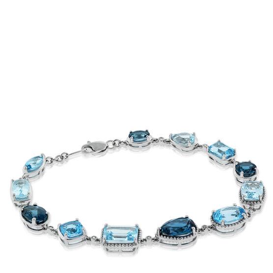 Mixed Cut Blue Topaz & Diamond Bracelet 14K