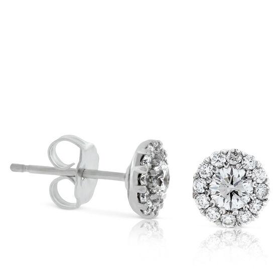 Diamond Halo Cupcake Earrings 14K, 5/8 ctw.
