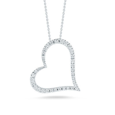 Roberto Coin Tiny Treasures Diamond Slanted Heart Necklace 18K