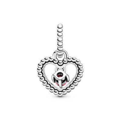 Pandora Petal Pink Crystal Beaded Heart Dangle Charm